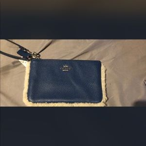 Blue coach wrist wallet